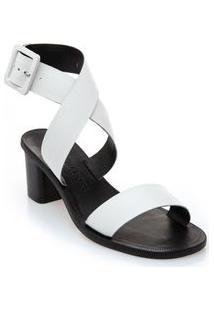 Sandalia Salto Medio Fivela Forrada Branco
