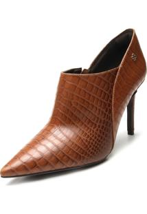 Ankle Boot Couro Capodarte Croco Caramelo