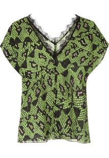 Eva Blusa Com Textura De Cobra - Verde