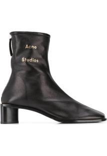 Acne Studios Ankle Boot Com Logo - Preto