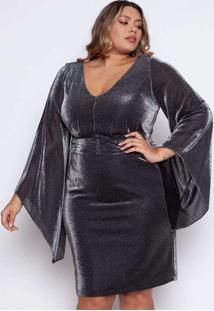 Vestido Almaria Plus Size Pianeta Curto Lurex Prat