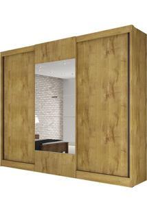 Guarda Roupa Make 3 Portas Com Espelho Freijó Dourado