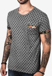 Camiseta Hermoso Compadre Poá Estampado Masculina - Masculino-Cinza