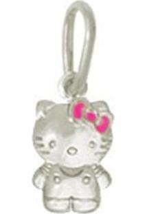 Pingente Prata Mil Hello Kitty Duplo Com Resina Prata