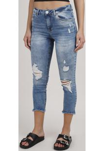 Calça Jeans Feminina Cropped Destroyed Cintura Média Azul Médio