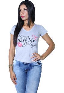 Camiseta Heide Ribeiro Always Kiss Me Goodnight Cinza Mescla - Multicolorido - Feminino - Dafiti