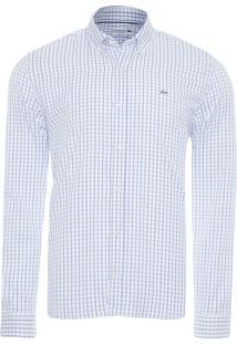 Camisa Masculina Quadriculada - Branco