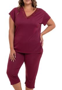 Pijama Capri Liganete Sepie (2470) Vinho - Plus Size