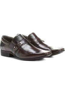 Sapato Social Couro Rafarillo Rafa System Fivela - Masculino-Marrom Escuro