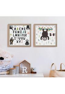 Conjunto Com 2 Quadros Decorativos Alfabeto Preguiças Bege