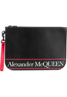 Alexander Mcqueen Bolsa Carteiro Com Logo - Preto