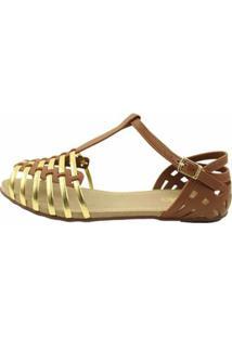 Sandália Sedução Feminina - Feminino-Dourado+Marrom