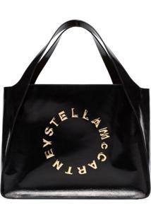 Stella Mccartney Bolsa Tote Envernizada Preta Com Logo - Preto