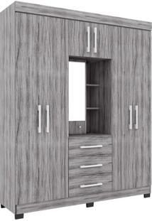 Guarda-Roupa Casal Capela 6Pt 3Gv Cinza