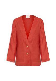 Blazer Feminino Jacket Linho Clássico - Vermelho