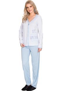 Pijama Vincullus Aberto Inverno Listra Azul