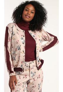 Jaqueta Moletom Estampado Rosa