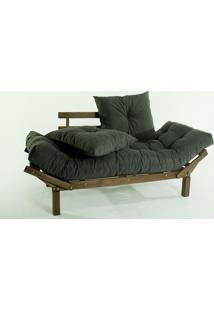 Sofá Cama Madeira Futon Country Comfort Acab. Stain Nogueira Com Almofada/Colchao Tecido Cinza 34 - 190X80X83 Cm