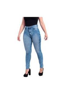 Calça Jeans Feminina Skinny Trama Cetim Com Elastano Cintura Alta Marmorizado Azul