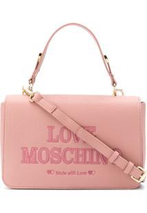 Love Moschino Bolsa Tote Com Logo Bordado - Rosa
