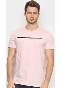 Camiseta Calvin Klein Faixa Logo Masculina - Masculino-Rosa Claro