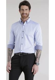 Camisa Slim Em Algodão + Sustentável Azul Claro