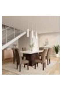 Conjunto De Mesa De Jantar Laura I Com Vidro E 6 Cadeiras Grécia Veludo Chocolate E Off White
