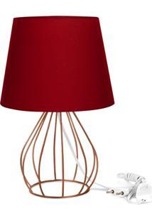 Abajur Cebola Dome Vermelho Com Aramado Cobre - Vermelho - Dafiti