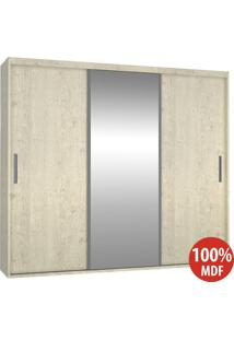Guarda Roupa 3 Portas Com 1 Espelho 100% Mdf 1987E1 Marfim Areia - Foscarini