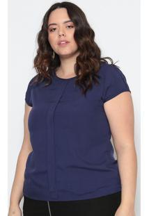 Blusa Lisa Com Prega - Azul Marinho- Maclumaclu