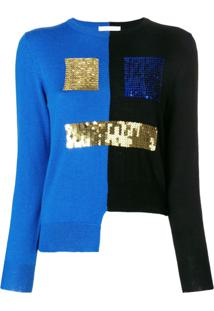 Peter Jensen Bicolour Sequin Face Sweater - Preto