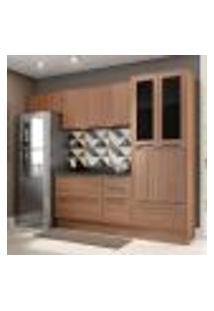 Cozinha Compacta Calábria Paneleiro, Aéreos E Balcão 3 Gavetas Nogueira