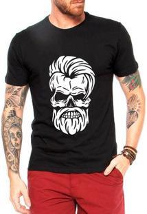 Camiseta Criativa Urbana Caveira Barber - Masculino-Preto