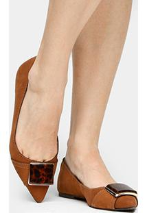 Sapatilha Couro Shoestock Fivela Onça Feminina - Feminino-Caramelo
