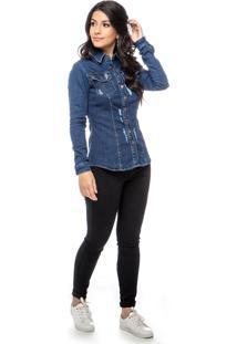 Camisete Jeans Dialogo Com Botões E Puidos