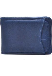 Carteira Com Porta-Cartão Couro Estonado - Masculino-Azul