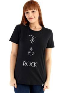 Baby Look Ouroboros Manga Curta Design+Café+Rock - Feminino-Preto