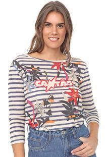 Camiseta Cantão Floral Listras Bege/Azul