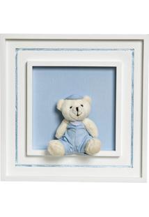 Quadro Príncipe Com Urso Boné Potinho De Mel Azul