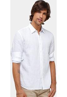 Camisa Ellus Classic Fit Linho Masculina - Masculino