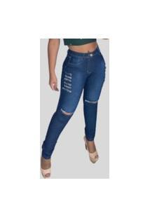 Calça Jeans Feminina Skinny Top Ii Fec Fashion Rasgada Com Elastano Azul