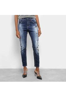 Calça Jeans Skinny Colcci Estonada Cintura Média Feminina - Feminino-Azul