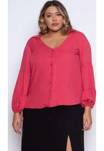 Camisa Almaria Plus Size Pianeta Viscose Rosa