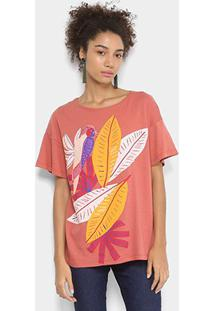Camiseta Cantão Estampada Feminina - Feminino-Vermelho Claro