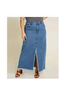 Saia Longa Plus Size Feminina Jeans Fenda Barra Desfiada