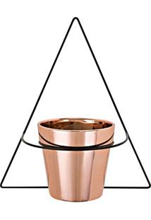 Vaso Metalizado Com Suporte- Rosê Gold & Preto- 32,5Mart