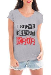Blusa Criativa Urbana Speak Kpop T Shirt - Feminino-Cinza