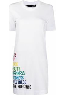 Love Moschino Vestido De Algodão Com Estampa Gráfica - Branco