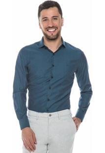 Camisa Azul Marinho Com Maquinetado - Masculino