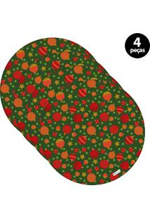Capa Para Sousplat Mdecore Natal Bolas De Natal Verde 4Pçs